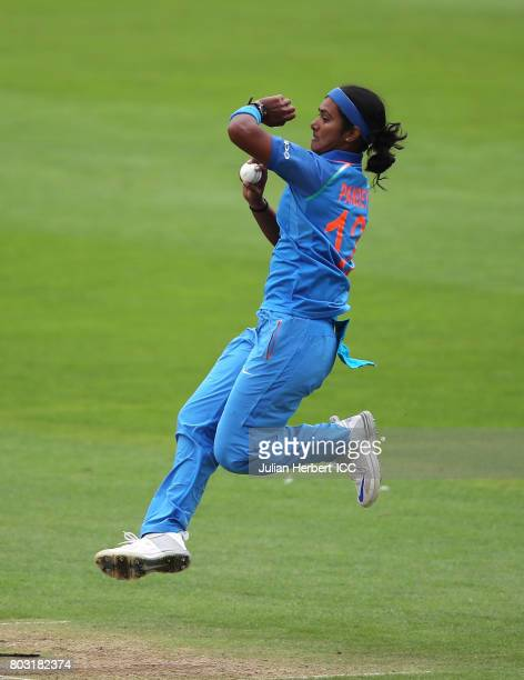 Shikha Pandey of India bowls during The ICC Women's World Cup 2017 match betwen The West Indies and India at The County Ground on June 29 2017 in...