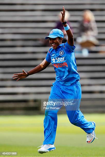 Shikha Pandey of India celebrates after running out England's Heather Knight during the 2nd Royal London ODI between England and India at North...