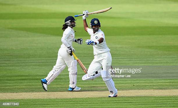 Shikha Pandey of India celebrates as she and Mithali Raj lead India to victory during Day Four of the Womens Test match between England and India at...