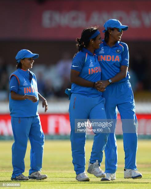 Shikha Pandey of India celebrates the wicket of Ellyse Perry of Australia during the ICC Women's World Cup 2017 match between Australia and India at...