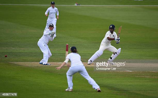 Shikha Pandey of India in action as Sarah Taylor and Lydia Greenway of England field during Day Four of the Womens Test match between England and...