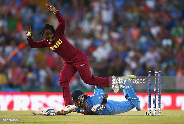 Shikha Pandey of India is run out by Anisa Mohammed of West Indies during the Women's ICC WT20 India match between India and West Indies at IS Bindra...