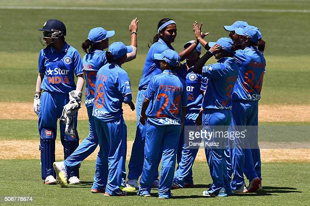 Shikha Pandey of India reacts after bowling out Meg Lanning of Australia during the women's Twenty20 International match between Australia and India...
