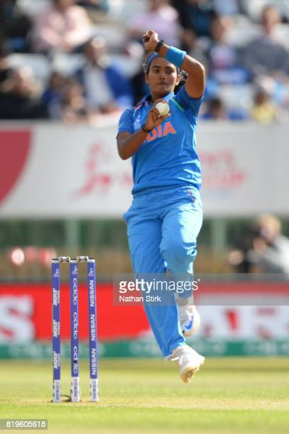 Shikha Pandey of India runs into bowl during the SemiFinal ICC Women's World Cup 2017 match between Australia and India at The 3aaa County Ground on...
