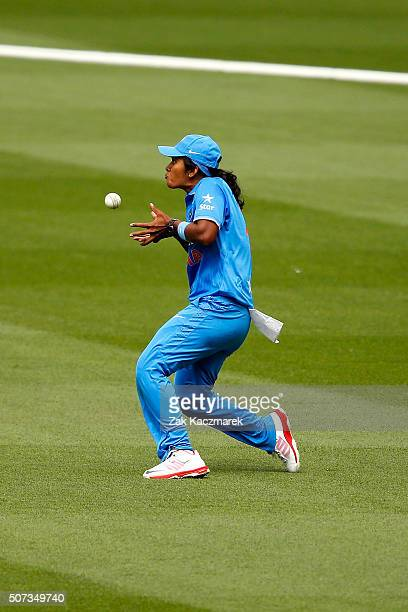 Shikha Pandey of India takes a catch to dismiss Sarah Coyte of Australia during the women's Twenty20 International match between Australia and India...