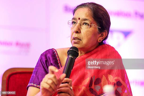 Shikha Sharma managing director and chief executive officer of Axis Bank Ltd speaks at the FIBAC banking conference in Mumbai India on Monday Aug 24...