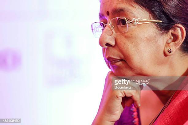 Shikha Sharma managing director and chief executive officer of Axis Bank Ltd pauses at the FIBAC banking conference in Mumbai India on Monday Aug 24...