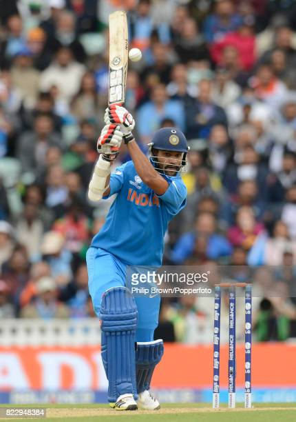 Shikhar Dhawan batting for india during his innings of 102 not out in the ICC Champions Trophy group match between India and West Indies at The Oval...