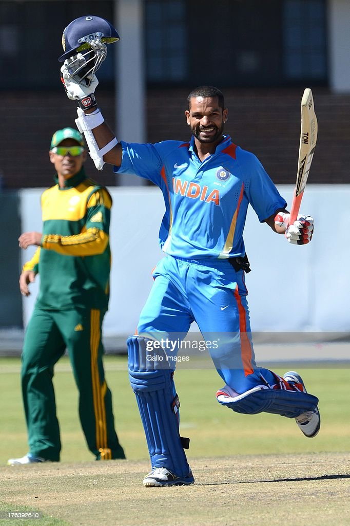 Shikhar Dhawan of India A celebrates his 200 runs during the 6th ODI match between South Africa A and India A from Tuks Oval on August 12, 2013 in Pretoria, South Africa.