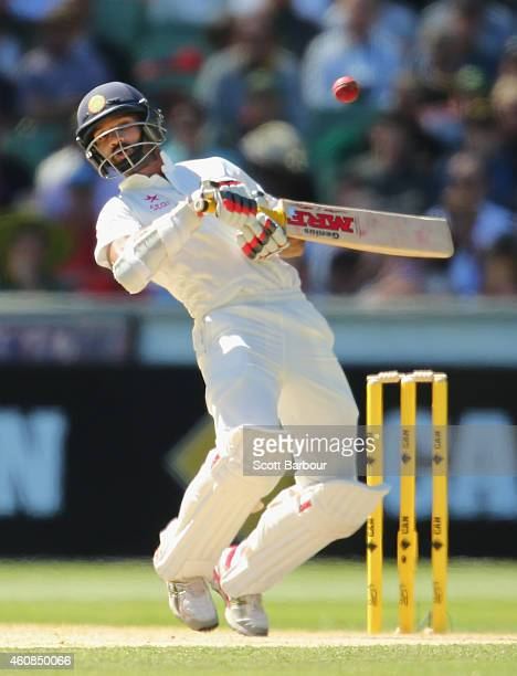 Shikhar Dhawan of India avoids a short ball during day two of the Third Test match between Australia and India at Melbourne Cricket Ground on...