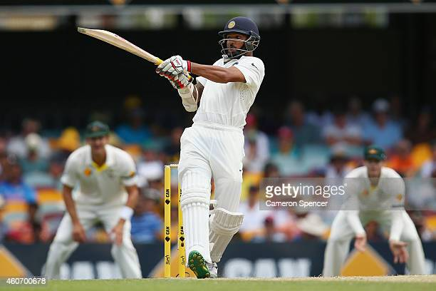 Shikhar Dhawan of India bats during day four of the 2nd Test match between Australia and India at The Gabba on December 20 2014 in Brisbane Australia