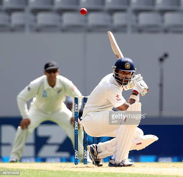 Shikhar Dhawan of India bats during day four of the international cricket Test match between New Zealand and India played at Eden Park in Auckland on...