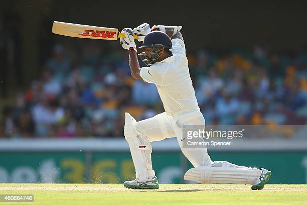 Shikhar Dhawan of India bats during day three of the 2nd Test match between Australia and India at The Gabba on December 19 2014 in Brisbane Australia