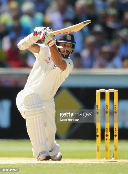Shikhar Dhawan of India bats during day two of the Third Test match between Australia and India at Melbourne Cricket Ground on December 27 2014 in...