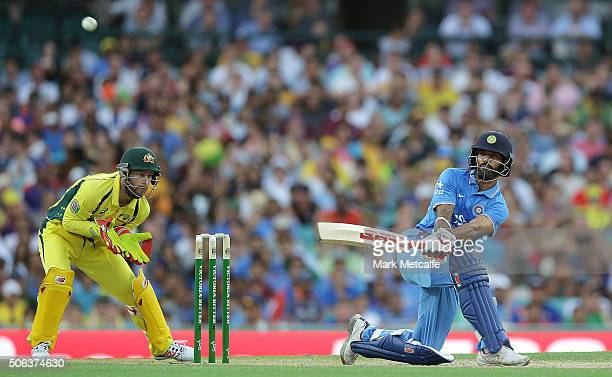 Shikhar Dhawan of India bats during game five of the Commonwealth Bank One Day Series match between Australia and India at Sydney Cricket Ground on...