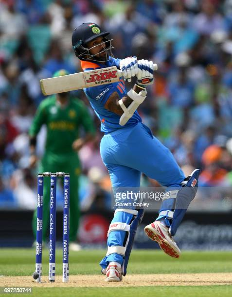 Shikhar Dhawan of India bats during the ICC Champions Trophy Final between India and Pakistan at The Kia Oval on June 18 2017 in London England
