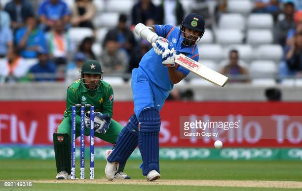 Shikhar Dhawan of India bats during the ICC Champions Trophy match between India and Pakistan at Edgbaston on June 4 2017 in Birmingham England