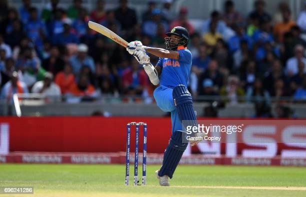 Shikhar Dhawan of India bats during the ICC Champions Trophy Semi Final between Bangladesh and India at Edgbaston on June 15 2017 in Birmingham...