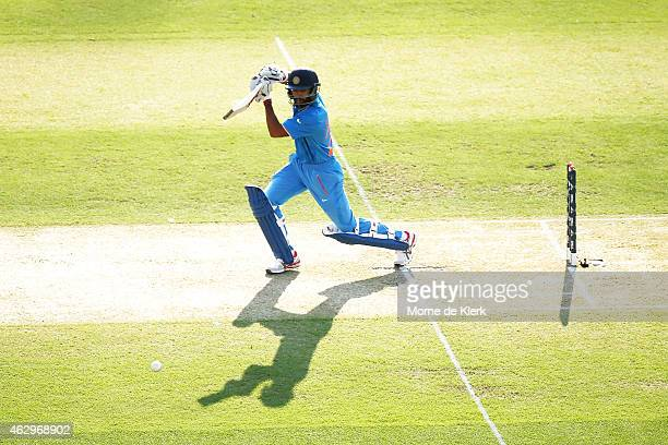 Shikhar Dhawan of India bats during the ICC Cricket World Cup warm up match between Australia and India at Adelaide Oval on February 8 2015 in...