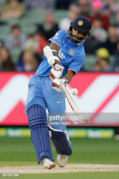 Shikhar Dhawan of India bats during the International Twenty20 match between Australia and India at Melbourne Cricket Ground on January 29 2016 in...