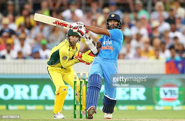 Shikhar Dhawan of India bats during the Victoria Bitter One Day International match between Australia and India at Manuka Oval on January 20 2016 in...