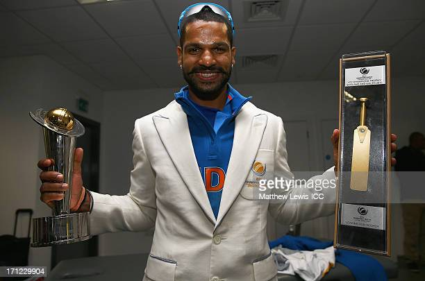 Shikhar Dhawan of India celebrates his teams win over England during the ICC Champions Trophy Final between England and India at Edgbaston on June 23...