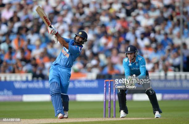 Shikhar Dhawan of India hits out for six runs during the 4th Royal London One Day International match between England and India at Edgbaston on...