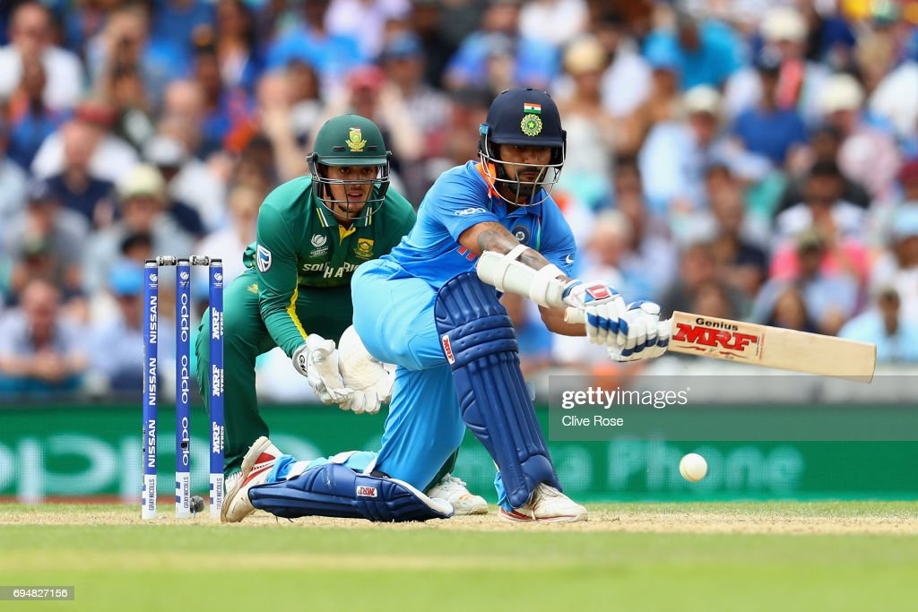 Shikhar Dhawan of India in action during the ICC Champions trophy cricket match between India and South Africa at The Oval in London on June 11, 2017