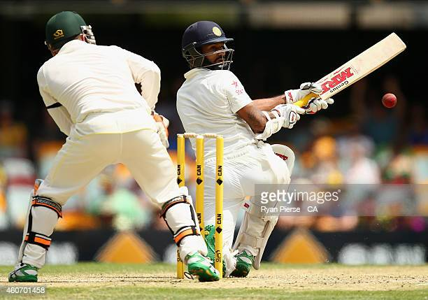 Shikhar Dhawan of India is dismissed LBW by Nathan Lyon of Australia during day four of the 2nd Test match between Australia and India at The Gabba...