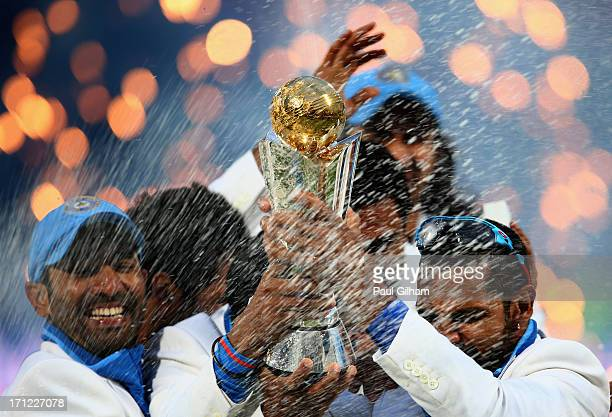 Shikhar Dhawan of India lifts The ICC Champions Trophy after India beat England in the ICC Champions Trophy Final match between England and India at...