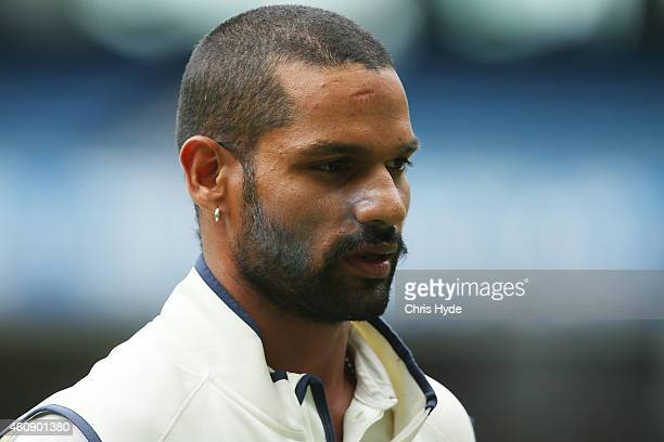 Shikhar Dhawan of India looks on during day five of the Third Test match between Australia and India at Melbourne Cricket Ground on December 30 2014...