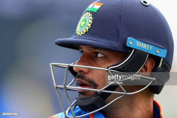 Shikhar Dhawan of India looks on prior to the start of the ICC Champions trophy cricket match between India and Sri Lanka at The Oval in London on...