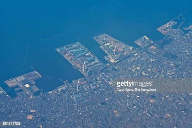 Shikokuchuo city and Seto Inland Sea, daytime aerial view from airplane