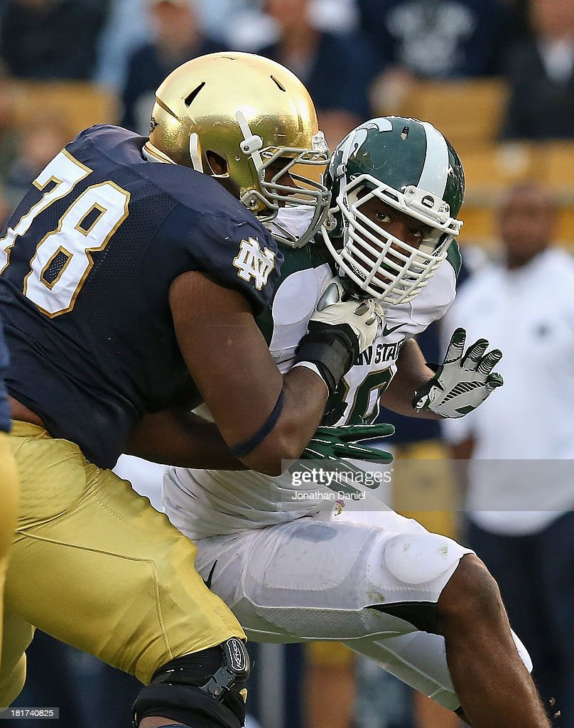Shilique Calhoun #89 of the Michigan State Spartans rushes against Ronnie Stanley #78 of the Notre Dame Fighting Irish at Notre Dame Stadium on September 21, 2013 in South Bend, Indiana. Notre Dame defeated Michigan State 17-13.