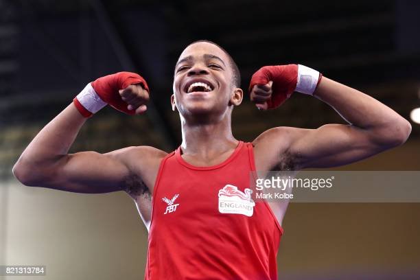 Shiloh Defreitas of England celebrates victory in the Boy's 56 kg Gold Medal bout between Shiloh Defreitas of England and Josh Fitzpatrick of...