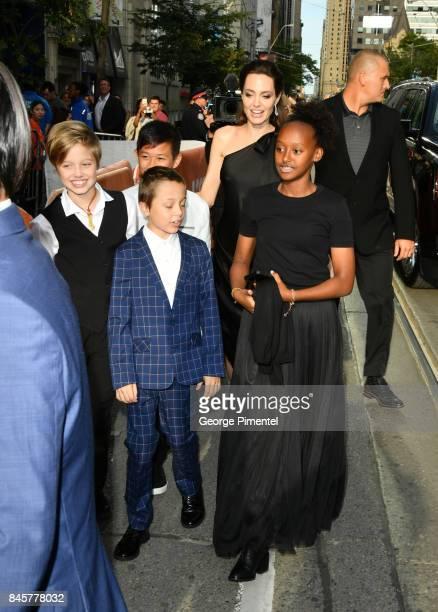 Shiloh JoliePitt Kimhak Mun Knox JoliePitt Angelina Jolie and Zahara JoliePitt attend the 'First They Killed My Father' premiere during the 2017...