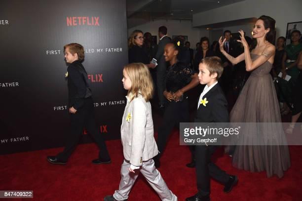 Shiloh JoliePitt Vivienne JoliePitt Zahara JoliePitt Knox Leon JoliePitt and Angelina Jolie attend the 'First They Killed My Father' New York...