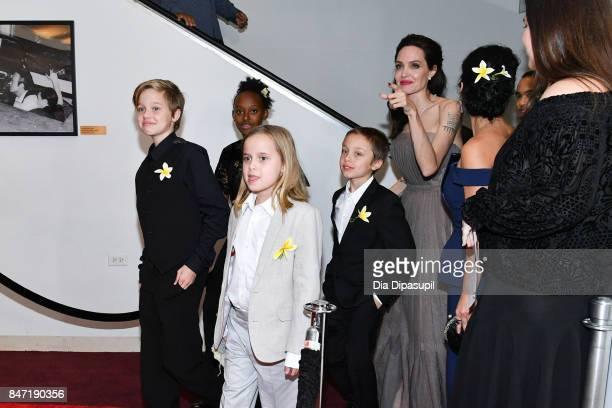 Shiloh JoliePitt Zahara JoliePitt Vivienne JoliePitt Knox Leon JoliePitt and Angelina Jolie attend the 'First They Killed My Father' New York...