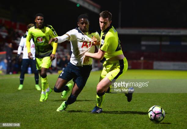 Shilow Tracey of Tottenham Hotspur battles for the ball with Dominic Hyam of Reading during the Premier League 2 match between Tottenham Hotspur and...