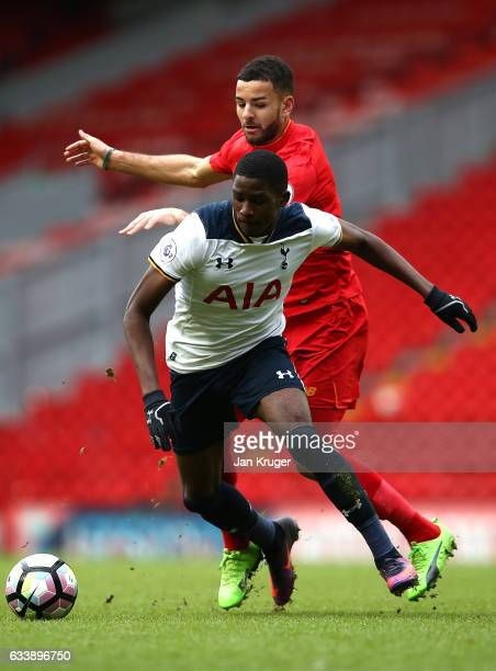Shilow Tracey of Tottenham Hotspur battles with Kevin Stewart of Liverpool during the Premier League 2 match between Liverpool and Tottenham Hotspur...