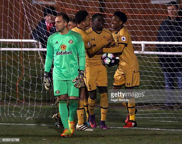 Shilow Tracey of Tottenham Hotspur celebrates scoring with teamates during the Premier League 2 match between Sunderland and Tottenham Hotspur on...