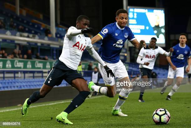 Shilow Tracey of Tottenham Hotspur controls the ball from Brendan Galloway of Everton during the Premier League 2 match between Everton and Tottenham...