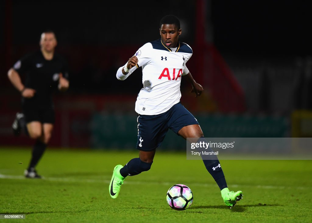 Shilow Tracey of Tottenham Hotspur during the Premier League 2 match between Tottenham Hotspur and Reading at The Lamex Stadium on March 13, 2017 in Stevenage, England.