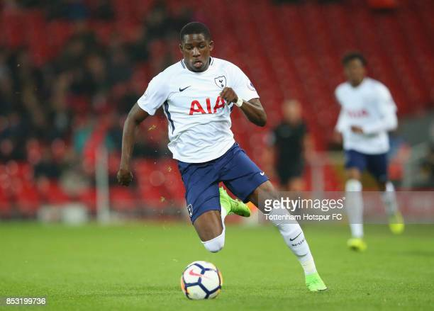 Shilow Tracey of Tottenham Hotspur during the Premier League 2 match between Liverpool and Tottenham Hotspur at Anfield on September 22 2017 in...
