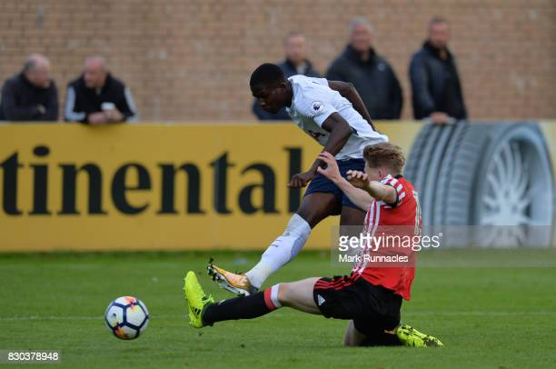 Shilow Tracey of Tottenham Hotspur has a shot on goal during the Premier League 2 match between Sunderland and Tottenham Hotspur at Eppleton Colliery...