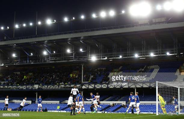 Shilow Tracey of Tottenham Hotspur heads towards goal during the Premier League 2 match between Everton and Tottenham Hotspur at Goodison Park on...