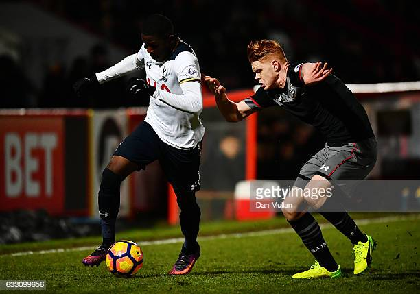 Shilow Tracey of Tottenham Hotspur holds off Will Wood of Southampton during the Premier League Two match between Tottenham Hotspur and Southampton...