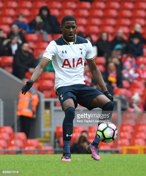 Shilow Tracey of Tottenham Hotspur in action during Premier League 2 match between Liverpool and Tottenham Hotspur at Anfield on February 5 2017 in...