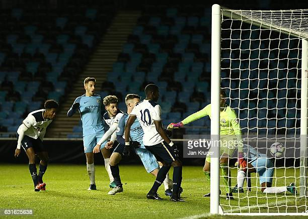 Shilow Tracey of Tottenham Hotspur scores the equalizer during the Premier League 2 match between Manchester City and Tottenham Hotspur at City...