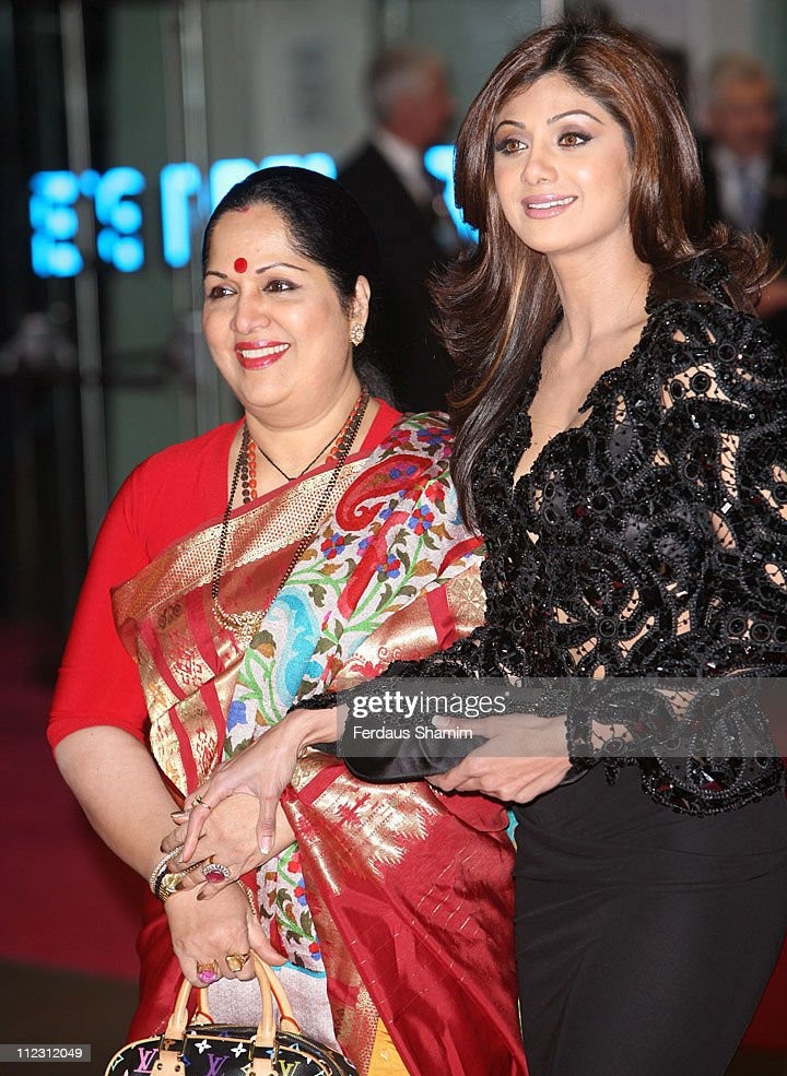 Shilpa Shetty and mother Sunanda Shetty during 'Music And Lyrics' London Premiere Red Carpet Arrivals at Odeon Leicester Square in London Great...
